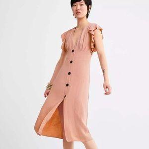Zara Rustic Pink Linen Buttoned Midi Dress Sz S